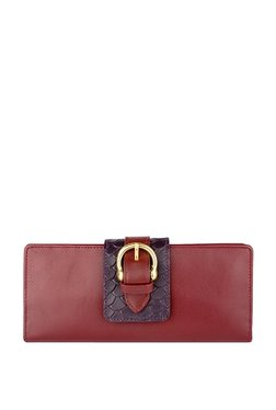 Hidesign Shanghai W2 Red & Purple Rfid Bi-fold Wallet
