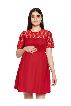 cedb7958369 Oxolloxo Maternity Red Lace Dress