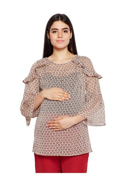 a43c266e71f Oxolloxo Maternity Beige Printed Top