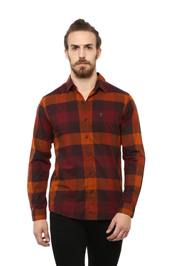 f285392740 Mufti Brown   Maroon Cotton Checks Shirt