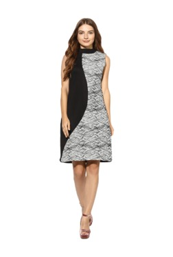 Soie Black & White Printed Knee Length Dress