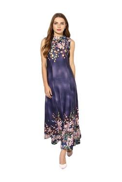 Soie Purple Floral Print Maxi Dress