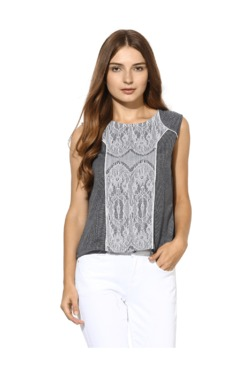 Soie Off White & Grey Lace Top