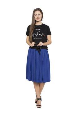 Globus Blue Knee Length Skirt