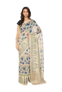 Soch Beige Floral Print Tussar Silk Saree