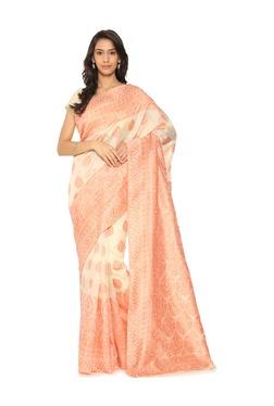 Soch Off White Embroidered Art Silk Saree