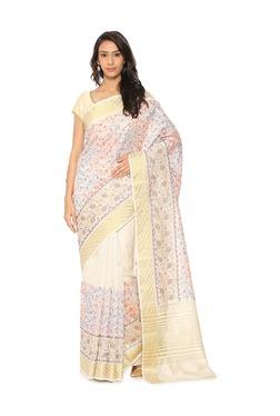 Soch White Embroidered Tussar Silk Saree - Mp000000003497295