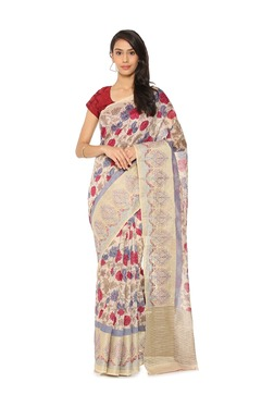 Soch Beige Floral Print Tussar Silk Saree - Mp000000003497301