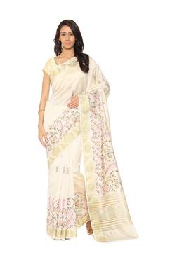 Soch Off White Embroidered Tussar Silk Saree