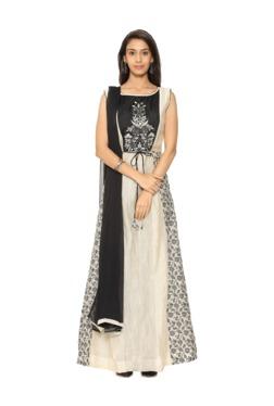 Soch Beige & Black Embroidered Chanderi Churidar Set