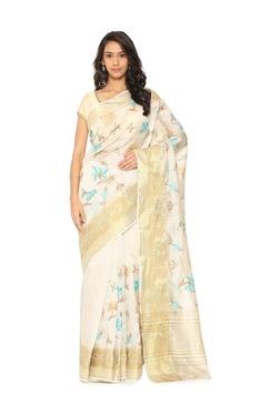 Soch White Embroidered Tussar Silk Saree