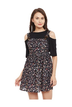 Bohobi Black Floral Print Above Knee Dungaree Dress