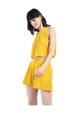 Bohobi Yellow Mini Shorts & Knot Crop Top Set