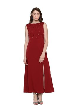 Bohobi Maroon Embellished Maxi Dress
