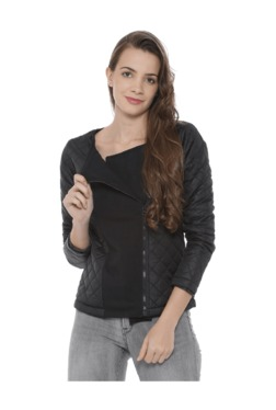 Campus Sutra Black Quilted Cotton Jacket