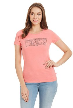 Levi's Pink Printed Short Sleeves Cotton Top