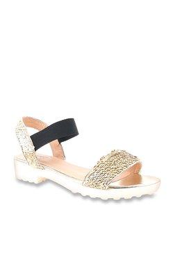 06677556c29e Carlton London Golden   Black Sling Back Sandals