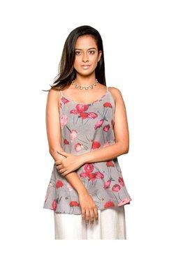 Indic Palate Co Grey Floral Print Cotton Kurti