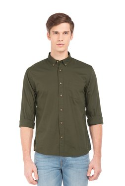 Ruggers Olive Button Down Collar Cotton Shirt