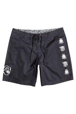 Quiksilver Black Cotton Mid Rise Shorts