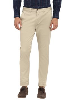 Red Tape Beige Mid Rise Skinny Fit Trousers