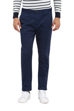 Red Tape Royal Blue Mid Rise Skinny Fit Trousers
