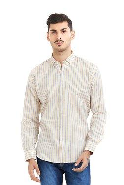 Deezeno Yellow & Blue Striped Full Sleeves Shirt