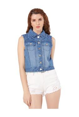 Merlot Denim Blue Shirt Collar Denim Jacket