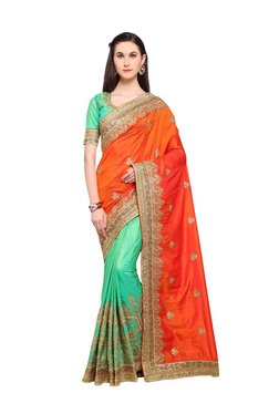 Aasvaa Green & Orange Embroidered Banarasi Silk Saree