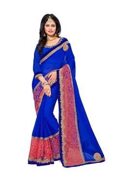Aasvaa Blue & Coral Georgette Saree With Blouse