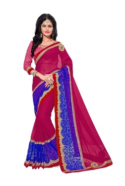 Aasvaa Pink & Blue Georgette Saree With Blouse