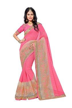 Aasvaa Pink Chiffon Saree With Blouse