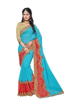 Aasvaa Blue & Orange Chiffon Saree With Blouse