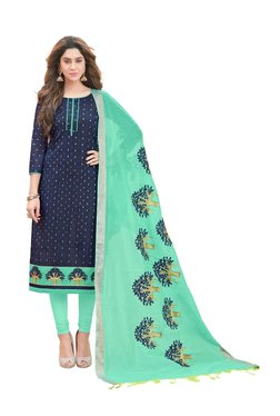 Aasvaa Navy Modal Cotton Semi-Stitched Churidar Suit