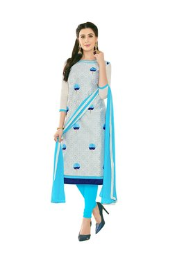 Aasvaa Beige & Blue Semi-Stitched Churidar Suit