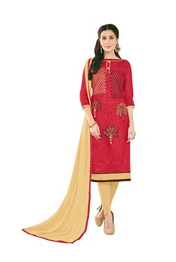 Aasvaa Red & Beige Semi-Stitched Churidar Suit