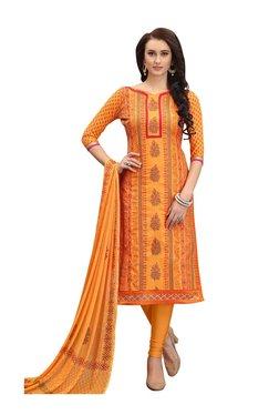 Aasvaa Orange Cotton Un-Stitched Churidar Suit
