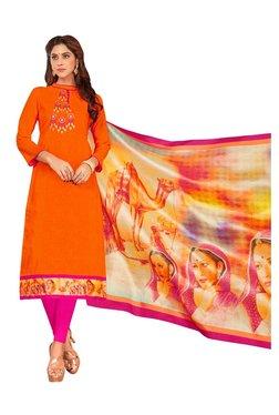 Aasvaa Orange & Pink Semi-Stitched Churidar Suit
