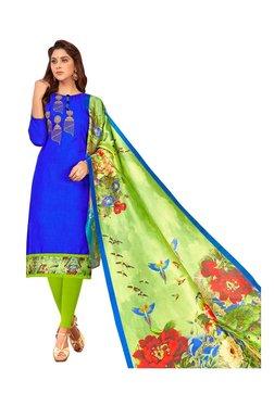 Aasvaa Blue & Green Semi-Stitched Churidar Suit