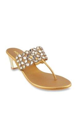 ecb68aa57dca Mochi Antique Gold T-Strap Sandals