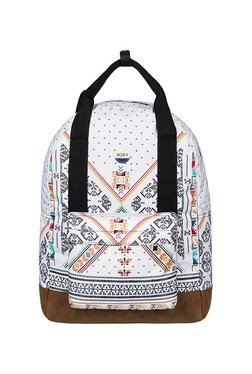 Roxy By My Side White & Brown Printed Laptop Backpack