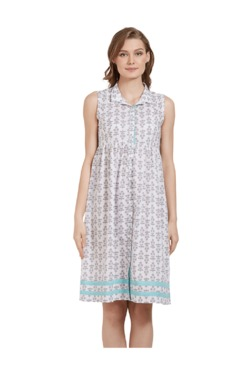 Mystere Paris White & Blue Printed Cotton Shirt Dress