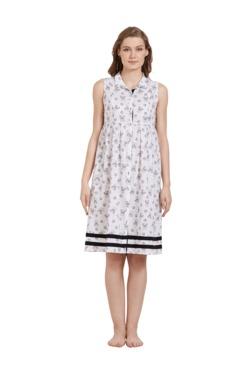 Mystere Paris White & Black Printed Cotton Shirt Dress