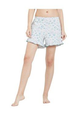 Mystere Paris Green & White Printed Cotton Shorts