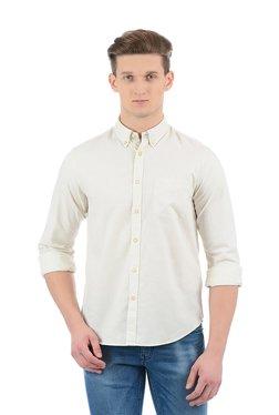 Indian Terrain Beige Button Down Collar Cotton Shirt