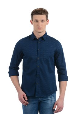 Indian Terrain Navy Cotton Full Sleeves Printed Shirt