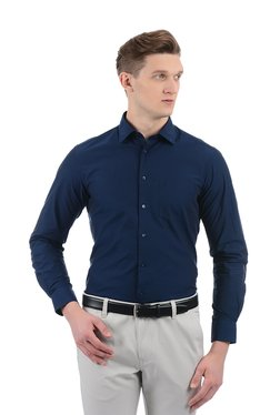 Indian Terrain Navy Solid Full Sleeves Cotton Shirt