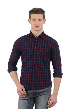 Indian Terrain Navy & Red Full Sleeves Cotton Shirt