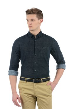 Indian Terrain Navy Printed Full Sleeves Regular Fit Shirt