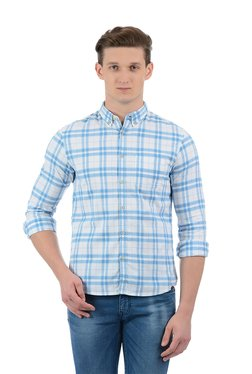 Indian Terrain White & Blue Slim Fit Checks Shirt